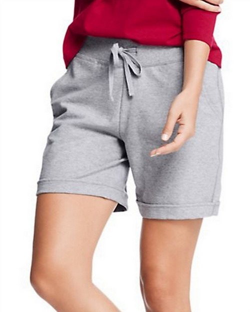 Hanes O4681 Womens French Terry Bermuda Pocket Short