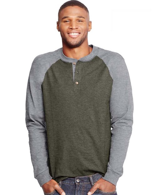 Hanes O5811 Mens Beefy-T Long-Sleeve Colorblock Henley