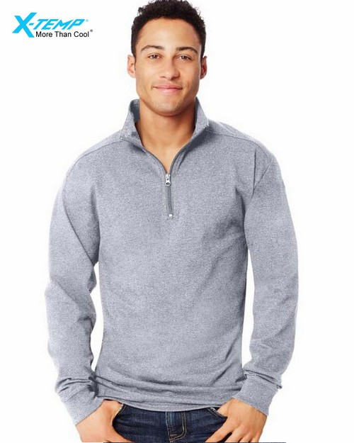 Hanes O5944 X-Temp Mens 1/4 Zip Long-Sleeve T-Shirt