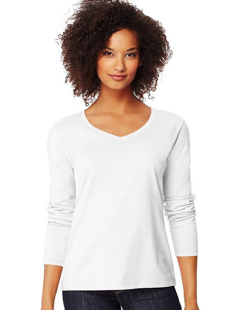 Hanes O9142 Womens Long-Sleeve V-Neck T-Shirt