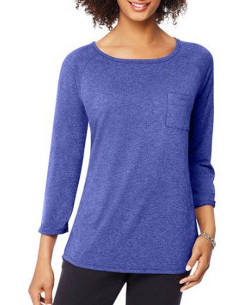 Hanes O9298 Womens Fashion Essentials Raglan Pocket Tee