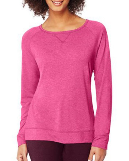 Hanes O9299 Womens Fashion Essentials Raglan V-Notch Tee