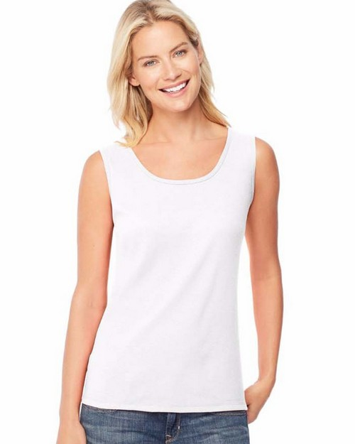 Hanes O9341 Womens Mini-Ribbed Cotton Tank