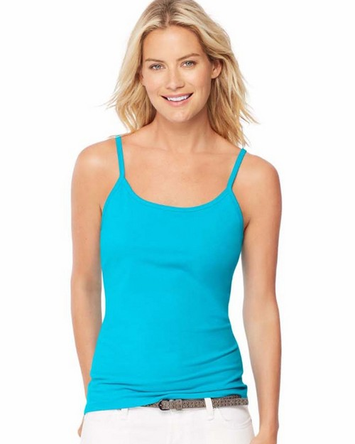 Hanes O9342 Womens Stretch Cotton Cami With Built-In Shelf Bra