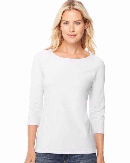 Hanes O9343 Stretch Cotton Womens Raglan Sleeve Tee