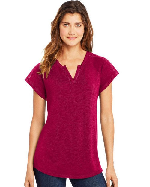 Hanes O9355 Womens Peasant Henley Top