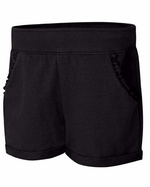 Hanes OK263 Girls Ruffle Pocket Short