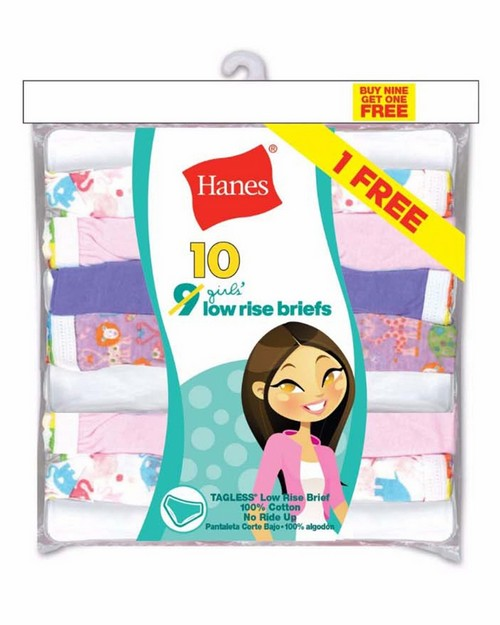 Hanes PA13LR Girls ComfortSoft Low Rise Briefs 10-Pack (Includes 1 Free Bonus Bikini Brief)