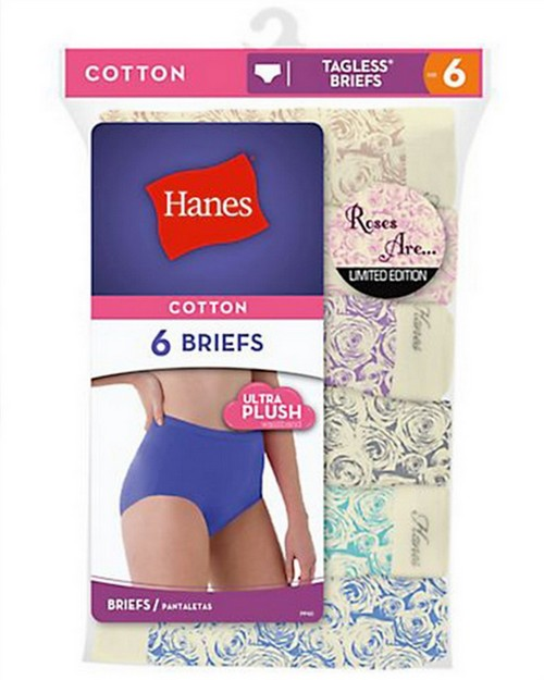 Hanes PP40F3 Womens Roses are Briefs Limited Edition Assorted 6-Pack