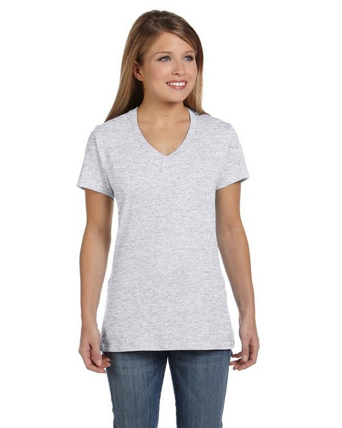 Hanes S04V Ladies 100% Ringspun Cotton nano T V Neck T Shirt