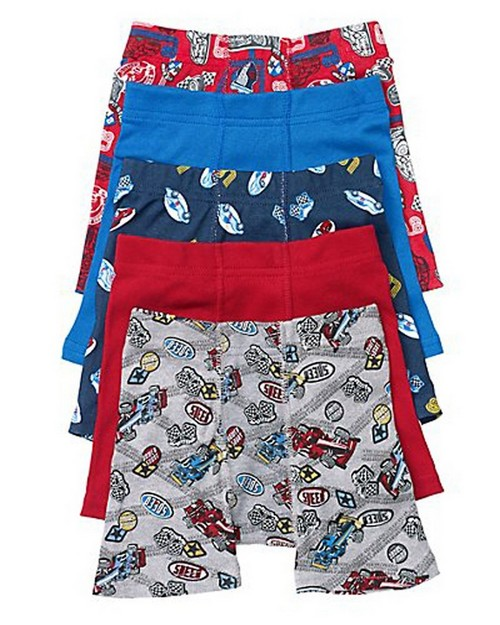 Hanes TB75P5 Toddler Boys Printed Boxer Briefs with Comfort Flex Waistband (Pack Of 5)