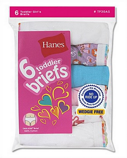 Hanes TP30AS Toddler Girls Briefs