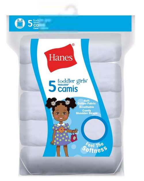 Hanes TV30P5 Ultimate Tagless Cotton Stretch Toddler Girls Cami White 5-Pack