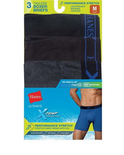Hanes UP9BA3 Ultimate Mens Fresh IQ X-Temp Performance Stretch Boxer Briefs Assorted 3-Pack