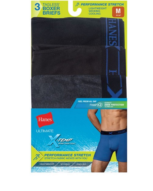 Hanes UP9BB3 Ultimate Mens Fresh IQ X-Temp Performance Boxer Briefs Assorted Black/Grey 3-Pack