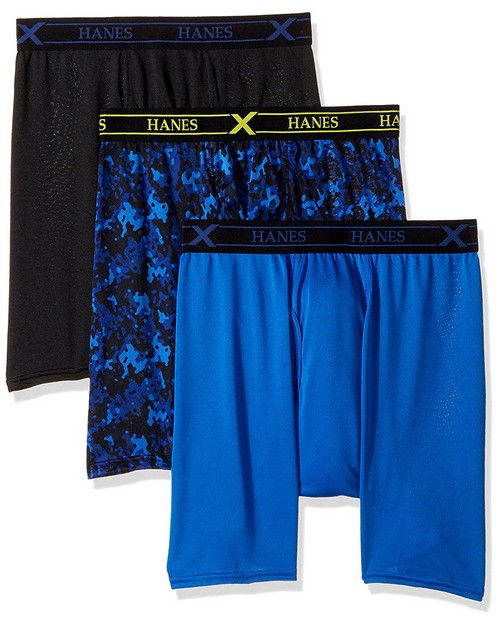 Hanes UPBBA3 Ultimate Mens Fresh IQ X-Temp Performance Boxer Briefs Assorted Prints 3-Pack