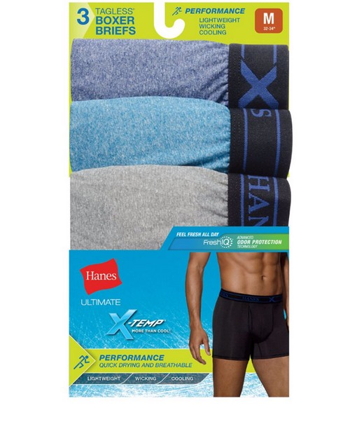 Hanes UPBBB3 Ultimate Mens Fresh IQ X-Temp Performance Boxer Briefs Assorted Black/Grey 3-Pack