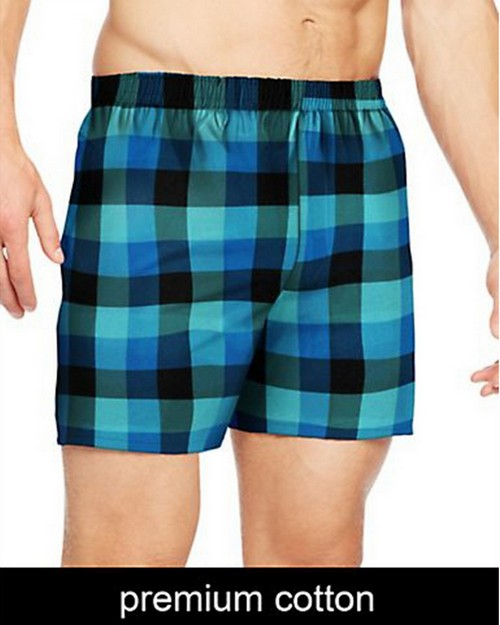 Hanes UTHXX3 Mens TAGLESS Ultimate Fashion Boxer with Comfort Flex Waistband Assorted Pattern Blues 3-Pack