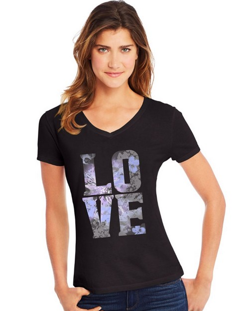 Hanes Y06917 Womens Big Love Short Sleeve V-Neck Tee