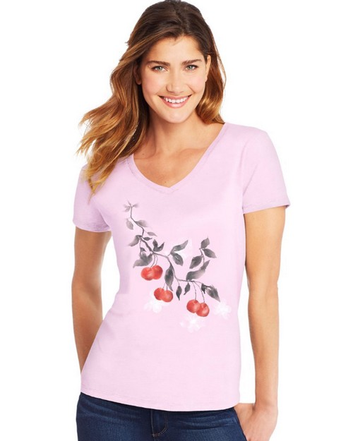 Hanes Y06921 Womens Cherries Jubilee Short Sleeve V-Neck Tee
