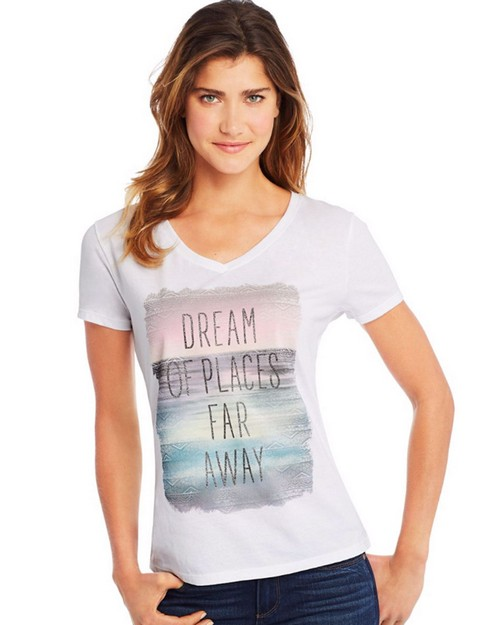 Hanes Y06922 Womens Dream of Places Far Away Short Sleeve V-Neck Tee