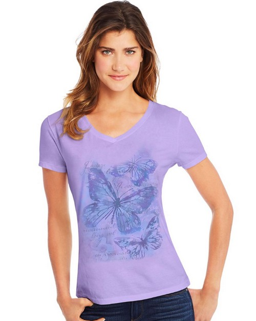 Hanes Y06923 Womens Big Butterfly Impression Short Sleeve V-Neck Tee