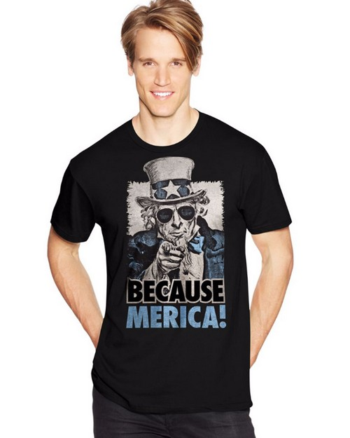 Hanes Y07076 Mens Because Merica Graphic Tee