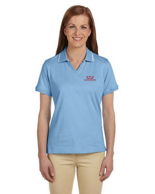 Harriton M140W Ladies Cotton Jersey Short-Sleeve Polo with Tipping