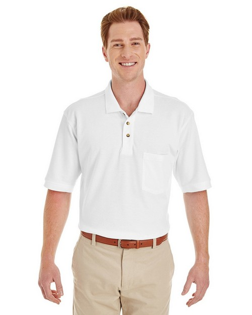 Harriton M200P Adult 6 oz. Ringspun Cotton Piqué Short-Sleeve Pocket Polo