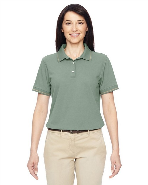 Harriton M270W Ladies 5.6 oz. Tipped Easy Blend Polo