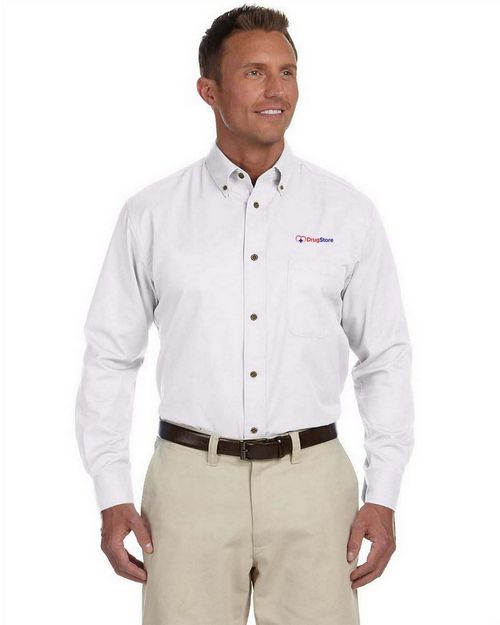 Harriton M500T Mens Tall Easy Blend Long-Sleeve Twill