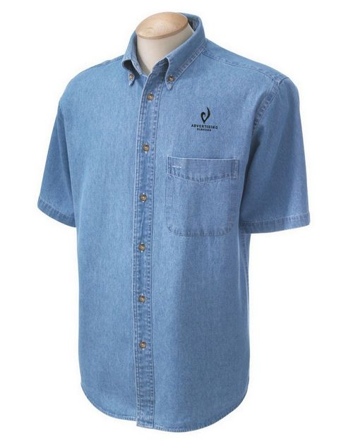 Harriton M550S Short-Sleeve Denim Shirt