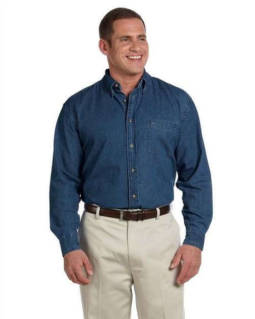 Harriton M550T Mens Tall Long-Sleeve Denim Shirt