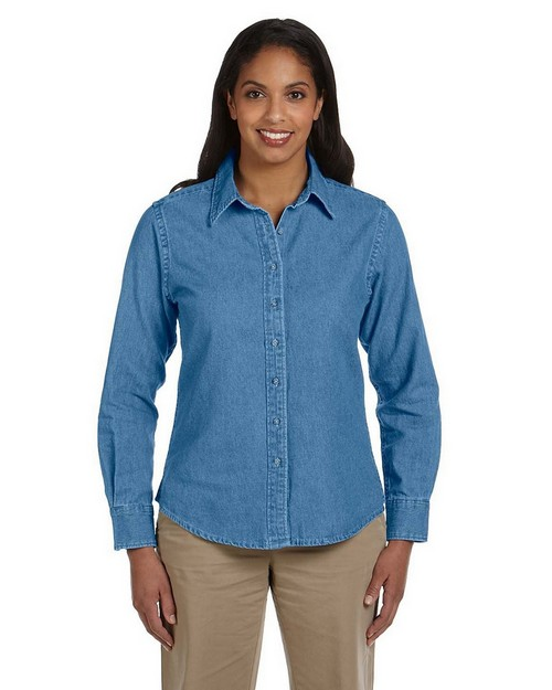 Harriton M550W Ladies Long-Sleeve Denim Shirt
