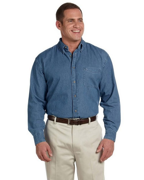 Harriton M550 Mens Long-Sleeve Denim Shirt
