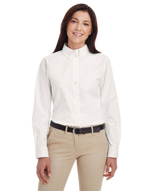 Harriton M581W Ladies Foundation 100% Cotton Long-Sleeve Twill Shirt with Teflon