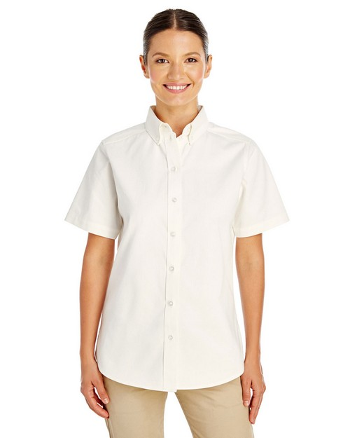 Harriton M582W Ladies Foundation 100% Cotton Short-Sleeve Twill Shirt Teflon