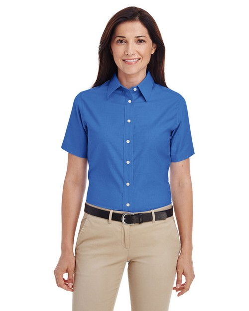 Harriton M600SW Ladies Short-Sleeve Oxford with Stain-Release