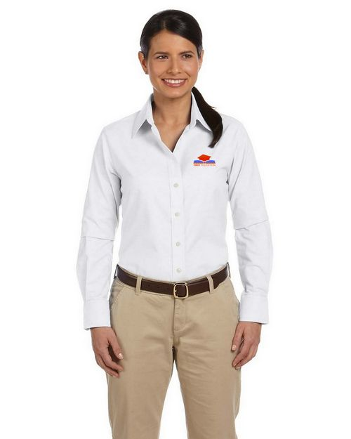 Harriton M600W Ladies L-Sleeve Oxford with Stain Release