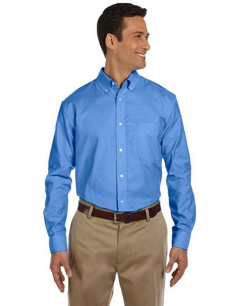 Harriton M600 Mens Long-Sleeve Oxford with Stain Release