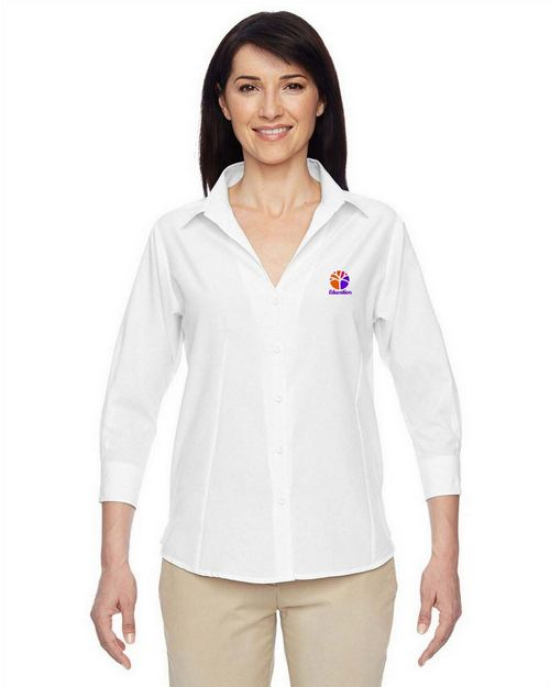 Harriton M610W Ladies Paradise Three Quarter Sleeve Performance Shirt
