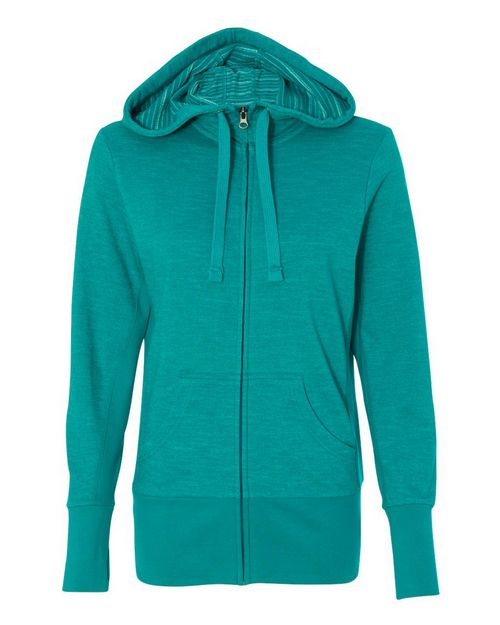 Independent Trading Co. PRM655BZ Womens Baja Stripe Hooded Full-Zip Sweatshirt