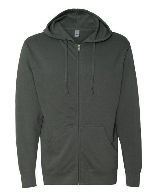 Independent Trading Co. SS2200Z Mens Lightweight Full-Zip Hooded Sweatshirt