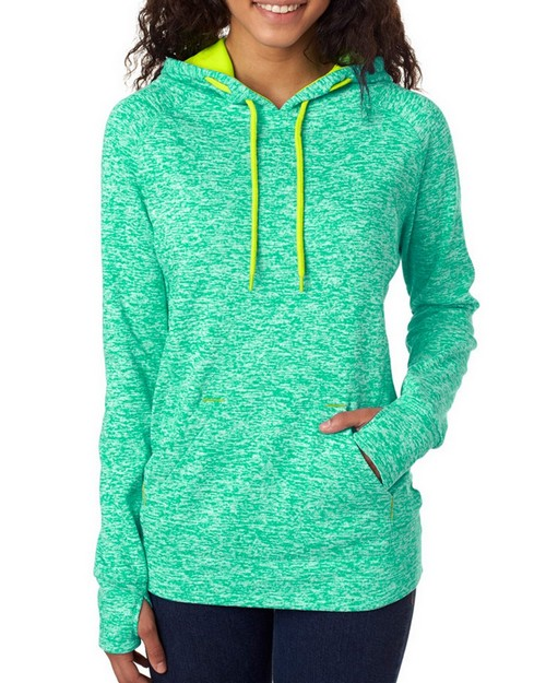 J America J8616 Ladies Cosmic Contrast Pullover Hooded Fleece
