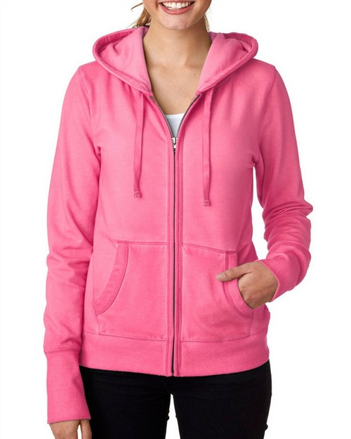 J America J8665 J.America Ladies' Oasis Wash Full-Zip Hooded Fleece