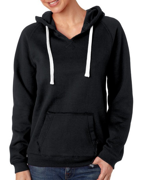 J America J8836 JA Ladies V Neck Hood Sweatshirt