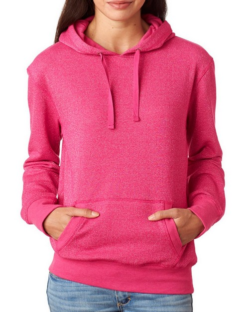 J America J8860 Ladies Glitter French Terry Hooded Fleece Pullover