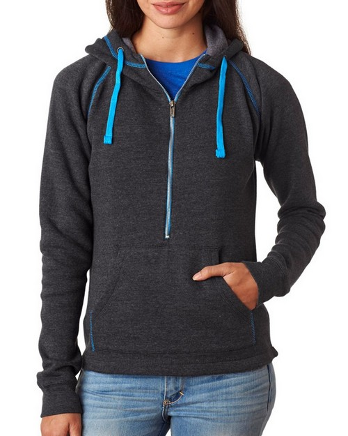 J America J8876 Ladies 1/2-Zip Tri-Blend Hooded Fleece Pullover