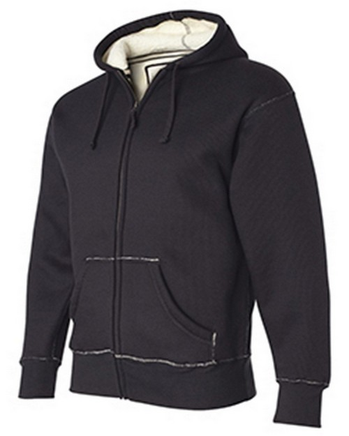 J America J8985 Adult Thermal Full-Zip Hood With Sherpa Lining