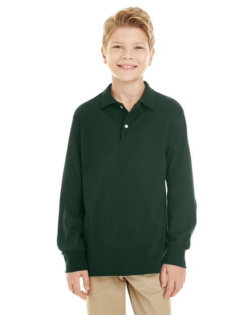 Jerzees 437YL Youth 5.6 oz. 50/50 Long-Sleeve Jersey Polo with SpotShield